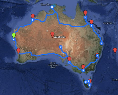Australia RoadTrip Map.GoogleMaps