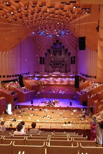 You can see the inside of the Opera House with a tour, or with a free community event called 'Singing in the House.'  We sang Christmas Carols in the  house - it was fabulous!