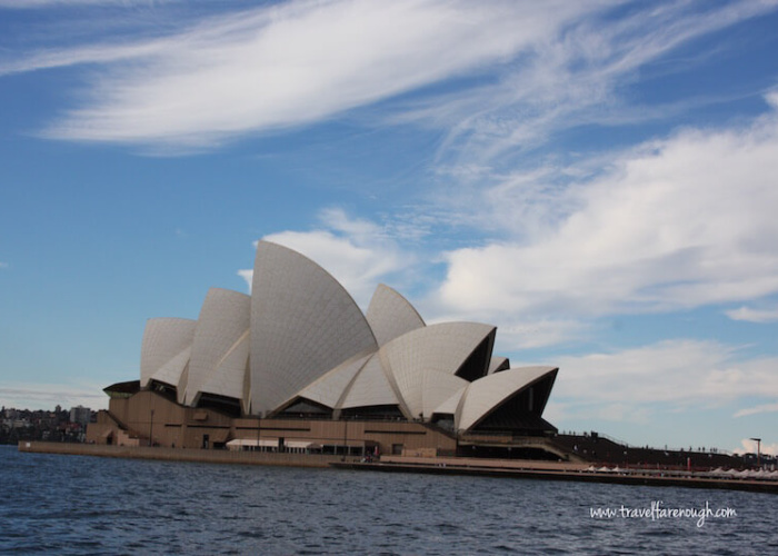 The Sydney Opera House stands beautifully in the Sydney Harbour.