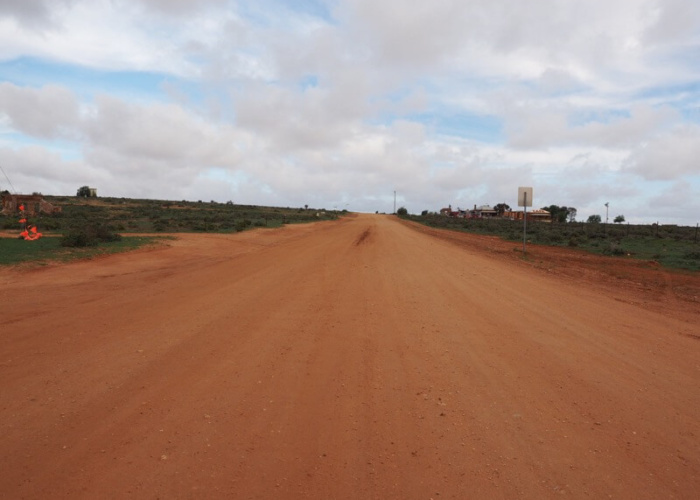 Silverton.  The roads are (red) dirt roads but with recent rains, more red mud where many roads were closed.