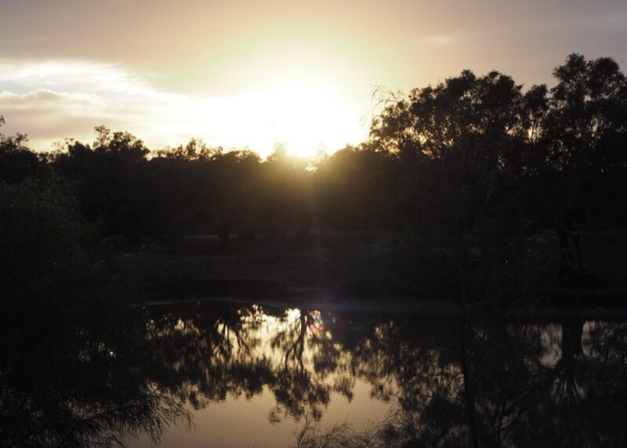 A beautiful sunrise reflecting off the billabong at Warrawong on the Darling near Wilcannia.