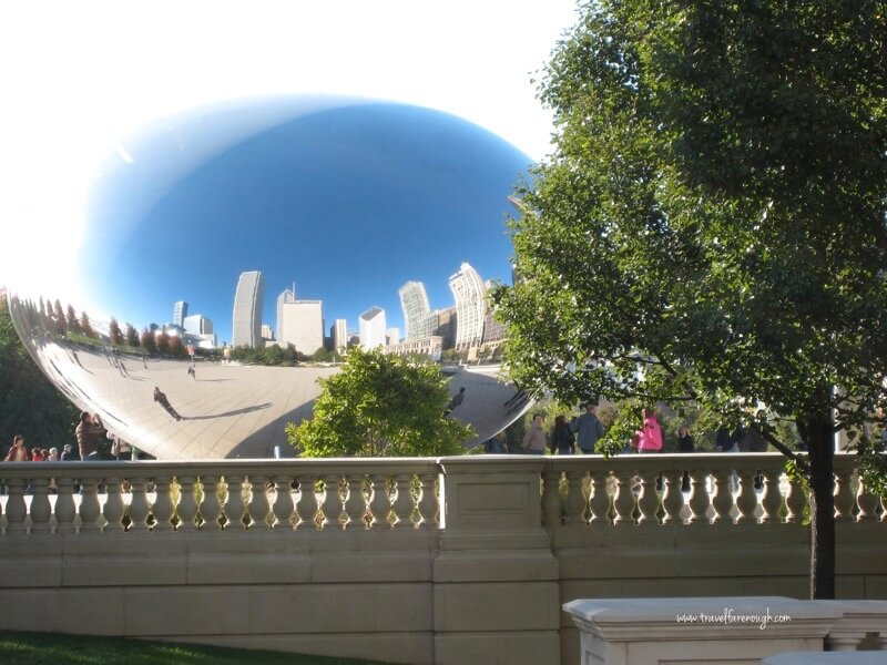 Distorted skyline reflected from the 'bean'