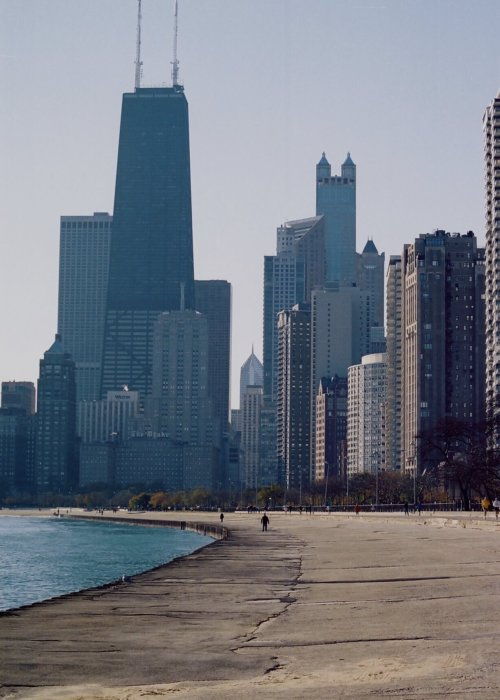 City skyline views from the shores of Lake Michigan.