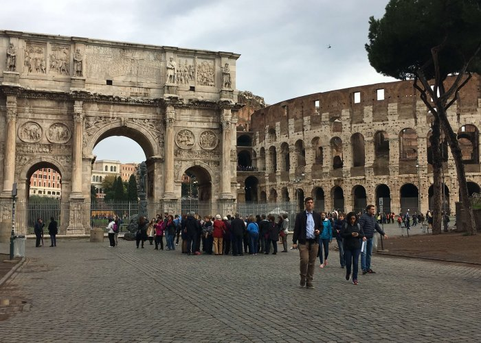 You can walk around the Colosseum but you must pay to enter.  It's still a surreal moment to be able to see this monument up close.