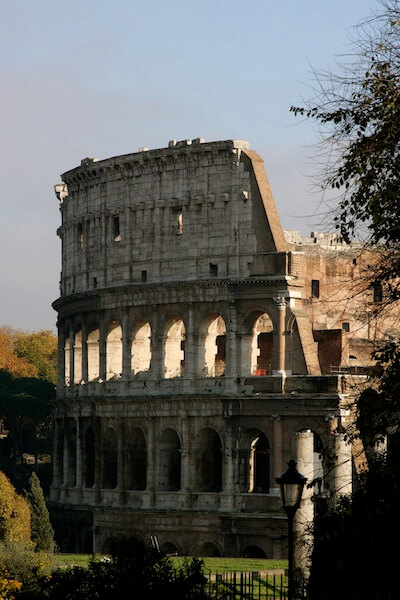 The remains of the Colosseum shows just how much time and modern times have affected the building.