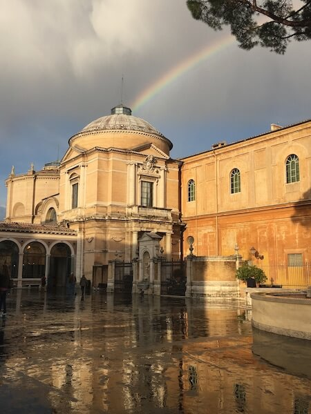 The Vatican Museum, touched by a rainbow after an afternoon shower.