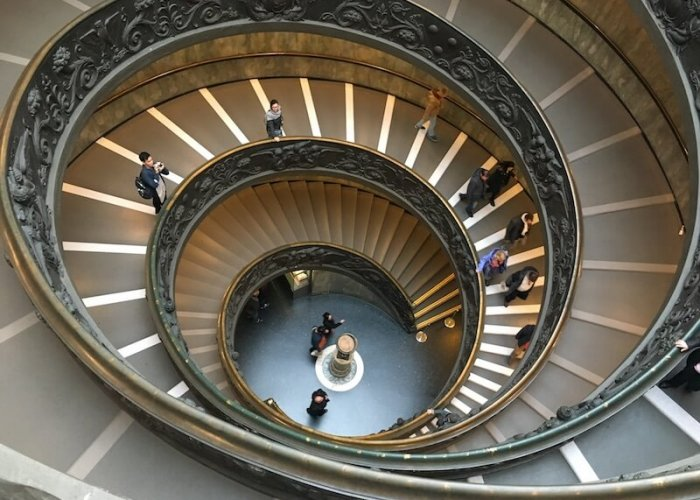 Stairway in the Vatican Museum...  one of the most photographed of the entire museum.
