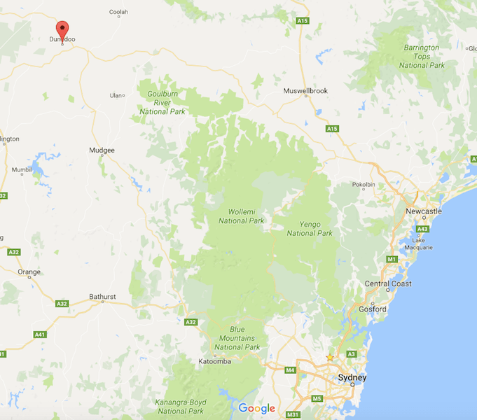 An indication of the Central N.S.W fires.  I grew up between Muswellbrook and Dunedoo.