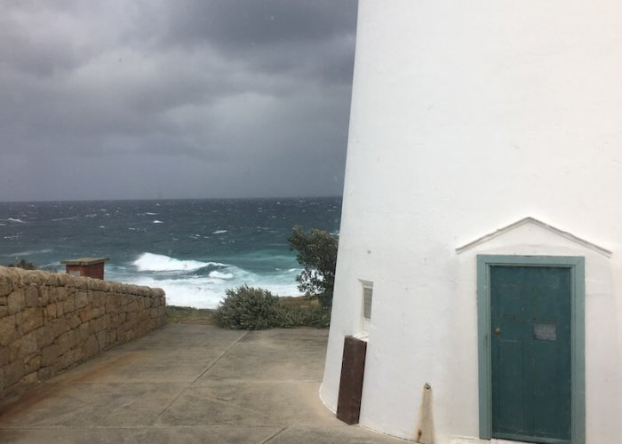 The Lighthouse Entrance with Mother Nature rousing the swells in the distance.