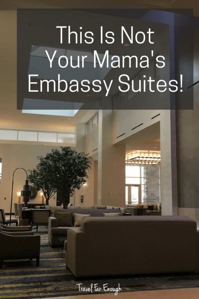 "Not Your Mama's Embassy Suites | Travel Far Enough | Denton has a new kid in town:  The Denton Embassy Suites and Convention Center and it's gorgeous! As described to me, this is NOT your Mama's ""Embassy Suites"". Indeed it is not. Check out my review of this amazing hotel."
