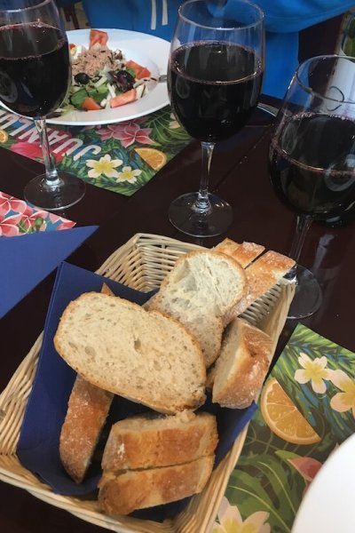 A typical Spanish dinner - bread, wine ... and other stuff.