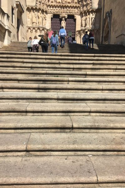 The stairs of hell... leading into the Burgos Cathedral. A challenge to climb when you've just thrown out your back!
