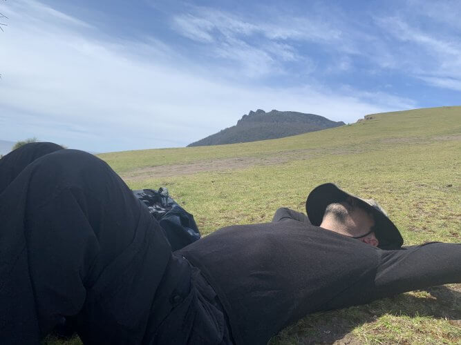 Collapsed after making to the scree of Bishop and Clerk on Maria Island
